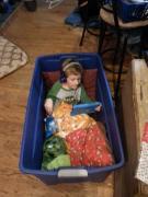 Kid in a bin